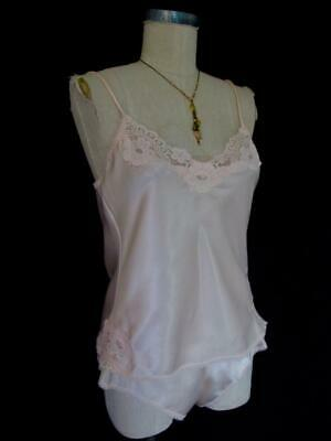 Vintage Warners Satin Camisole and Tap Panty Set 34 / 5 S Lace Blush Peach Pink