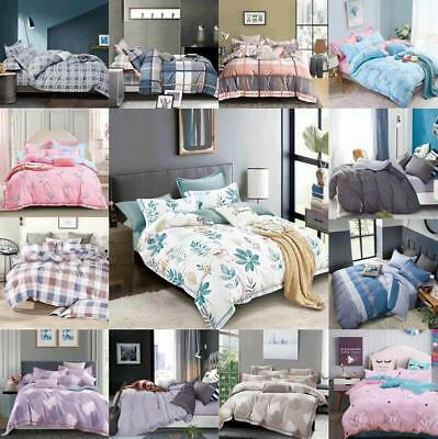 Luxury Soft Duvet Quilt Cover With Pillow Case Bedding Set Single Double King