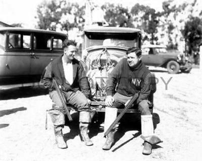 Antique Repro 1925 8X10 Photo Babe Ruth Lou Gehrig California Duck Hunting