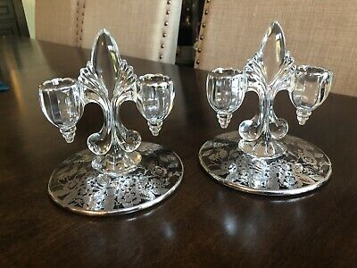 Pair Fostoria Silver Candle Holders  Fleur De Lis W/silver Flowers Etched 5.5""