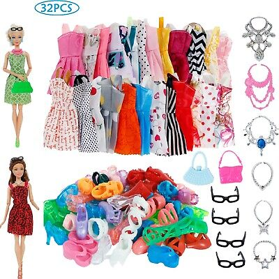 32 Item/Set Doll Accessories Dress Clothes For Barbie Doll