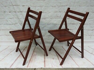 Set of 2 Vintage Slat Wood Folding Chairs Great Quality & Only Used Indoors-Pair