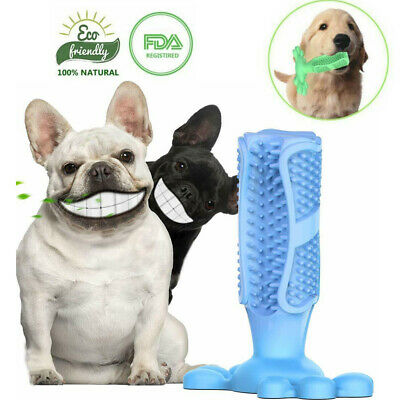 Pet Dog Toothbrush Cleaning Chew Toy Oral Care Molars Brush Stick natural Rubber