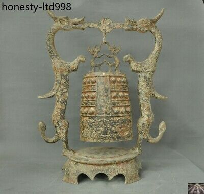 Old China Ancient Dynasty Bronze Ware Double Dragon Statue Beast face Zhong Bell