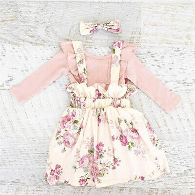 AU Toddler Kid Baby Girl Ruffle Long Sleeve Top Floral Strap Skirt Dress Outfit