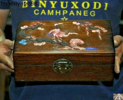 Chinese Huang HuaLi wood Inlay Shell carved Cranes Pine Tree Storage Jewelry Box