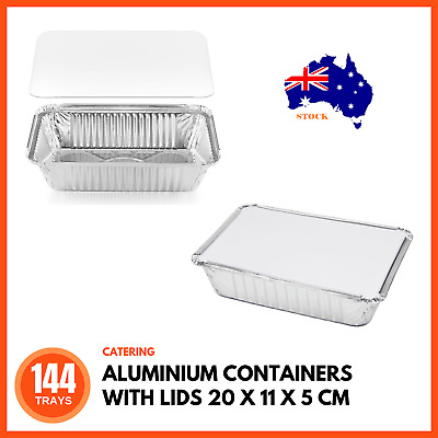 144 x ALUMINIUM PANS CONTAINERS WITH LIDS TO GO Takeaway Food Tray Disposable