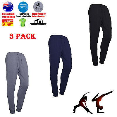 3 PACK Men Slim Fit Jogger Sports Bodybuilding Running Track Trousers Sweatpants