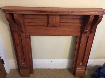 Antique wood fireplace surround mantel architectural salvage arts crafts mantle