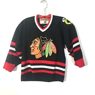 los angeles bfec9 258f2 VINTAGE KOHO STITCHED Chicago Blackhawks Black Team NHL ...