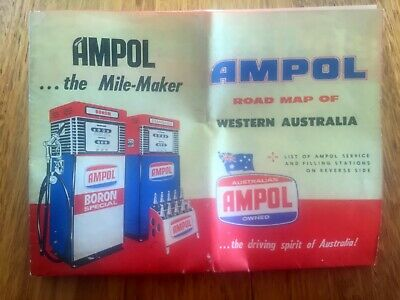 Retro Collectable Ampol Map Of Wa