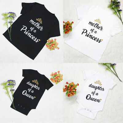 Women Mom Daughter Family Matching Summer T Shirts Clothes Tops Baby Girl Romper