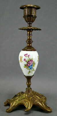 Late 19th Century Dresden Hand Painted Floral & Gold Gilt Bronze Candlestick