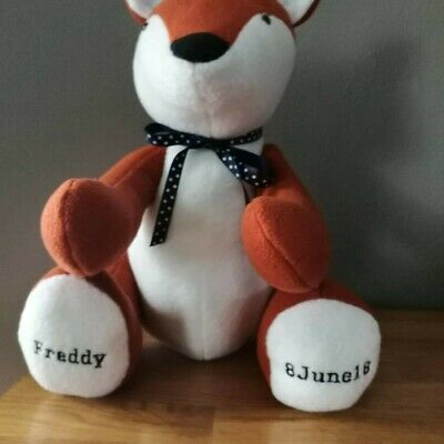 personalised embroidery memory animals made to order name and date of birth