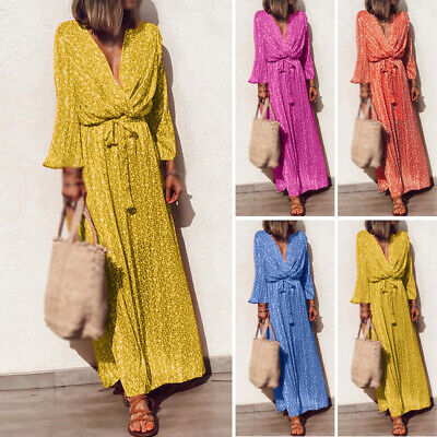 Women Floral Long Sleeve Maxi Dress V Neck Cocktail Party Casual Dress Plus Size