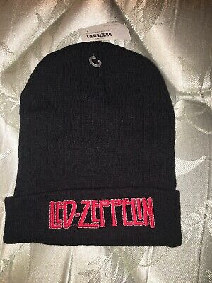 Led Zeppelin Black Knit Hat One Size Fits All Cap Beanie Rock Band