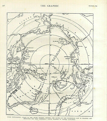 POLAR EXPLORATION CHART REGIONS ROUTES OF EXPEDITON BY FORMERS EXPLORERS c.1894