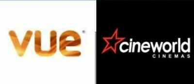 Cineworld Vue Adult /Child 2D Cinema E-Ticket Codes Instant Free Delivery Email