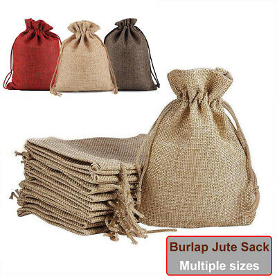 Small Burlap Jute Hessian Wedding Favor Pack Jewellery Bag Drawstring Pouches UK