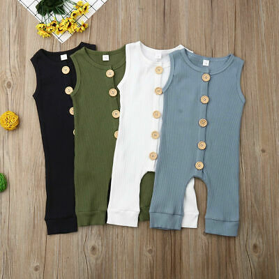 AU Infant Toddler Baby Boys Girls Cotton Button Romper Jumpsuit Headband Clothes