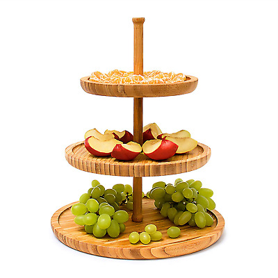 Relaxdays Bamboo Etagere: 37 cm x 30 cm Fruit Etagere Wooden With 3 Round Plates