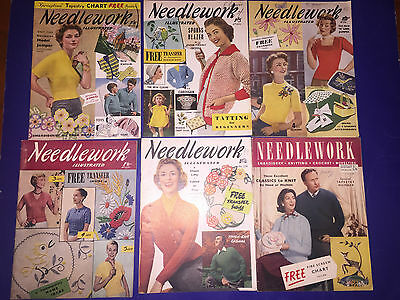 6 vintage Weldons needlework illustratrated magazine lot transfers crochet knits