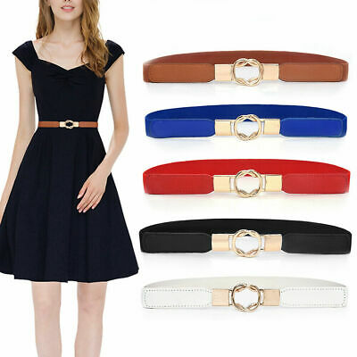 Ladies Women Stretch Elasticated Waist Belt Gold Buckle Fashion 68cm length