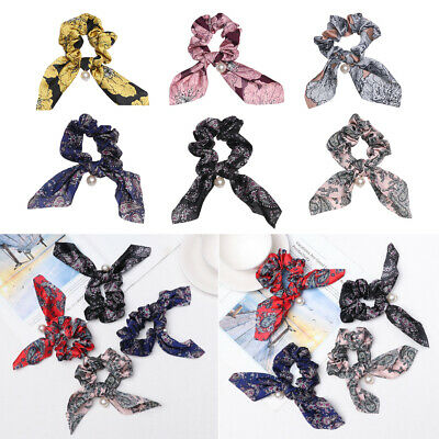 Fashion Floral Print Bow Hair Scrunchies With Pearl Ponytail Hair Rope Hair Tie