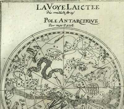 100% Original Arctic Celestial Zodiac Chart map, Alain Mallet 1684 South Pole