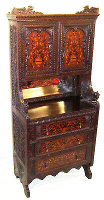Antique Marquetry Inlaid Carved Cabinet Cupboard Cabinet EDWARDS ROBERTS LONDON