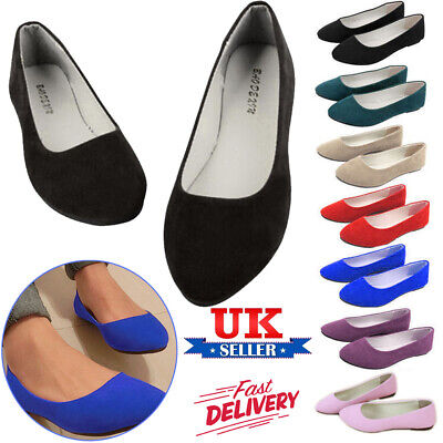 Women's Ballerina Ballet Dolly Pumps Slip On Ladies Flat Boat Loafers Shoes Size