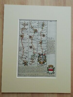 Antique Strip Map Hereford To Worcester To Droitwich From Atlas Brittania...