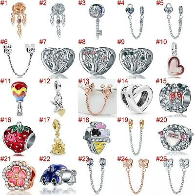 European Silver Charms Safety Chain Beads CZ Pendant Fit 925 Sterling Bracelets