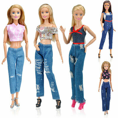 10Pcs Lot Clothes for Barbie Doll Handmade Tops + Pants Set Party Gown Kids Toys