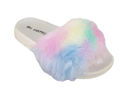 Girls Kids Childs Faux Fur Rainbow Colours Sliders Summer Beach Pool Sandals