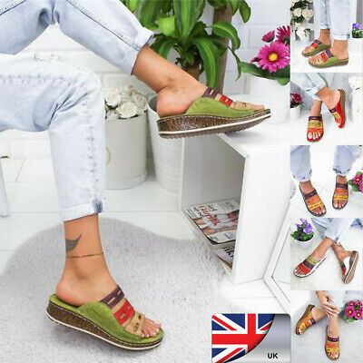 Summer Women Ladies Open Toe Platform Slippers Wedge Sandals  Stitching Shoes DF