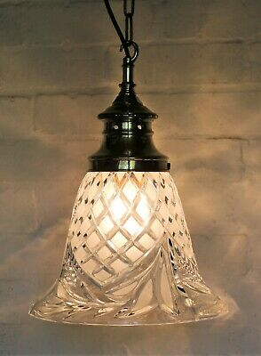 Large Antique Bell Glass Ceiling Light Pendant + Ornate Faux Gallery & Fittings