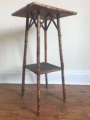 Antique Victorian Tortoise Shell Bamboo Side Occasional Plant Stand. Coffee Lamp