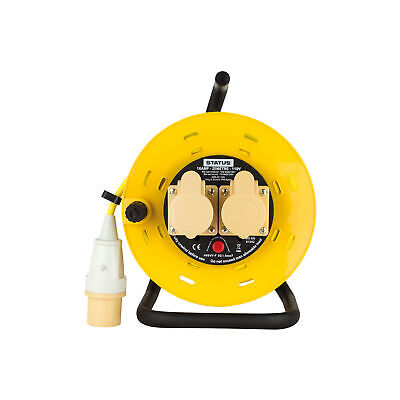 16A 110V 25m Extension Reel 2 Socket Yellow Heavy Duty Site Cable Thermal Cutout