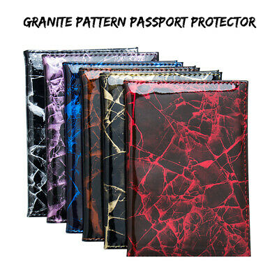Luxury Marble Effect Coloured PU Leather Passport Cover Travel ID Holder Wallet