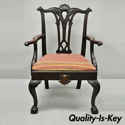 Antique Chippendale Style Shell Carved Mahogany Ball and Claw Dining Arm Chair