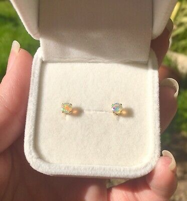 Beguiling natural Ethiopian Opal 4mm facet 14k yellow gold claw stud earrings 🍭