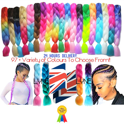 "100+ Colours  U.K  24"" Ombre Dip Dye Kanekalon Jumbo Braid Hair  24 Hrs Delivery"