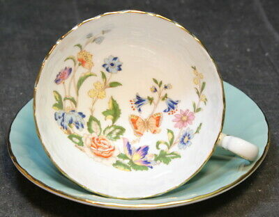 Aynsley Painted Floral Gold Trim Ruffled Cup & Saucer