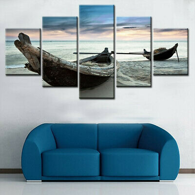 5Pcs Set Boat Modern Canvas Print Paintings Wall Art Pictures Home Decor Unframe