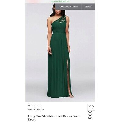 Davids Bridal Bridesmaid Dress Green Long One Shoulder