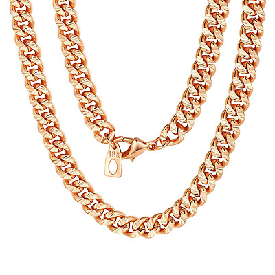 Rose Gold Chain Necklace for Women Curb Link Chain 7mm 18inch Choker Gift