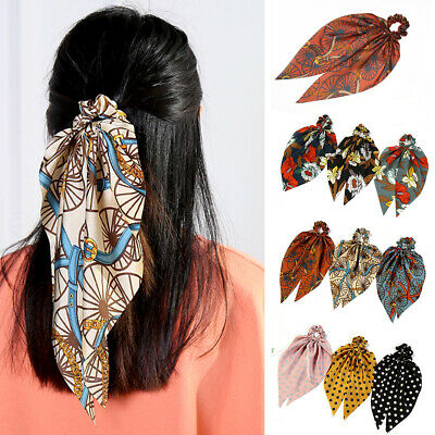 Women Polka Dot Floral Print Hair Scarf Ties Knotted Bow Hair Ring Accessories