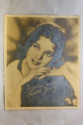 One  Loretta Young Sepia Gelatin Silver Photo With Signiture 8X10