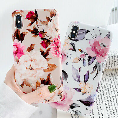 Ultra-thin Rubber Matte Peony Flower Case Cover For iPhone XS Max XR X 8 6s 7+